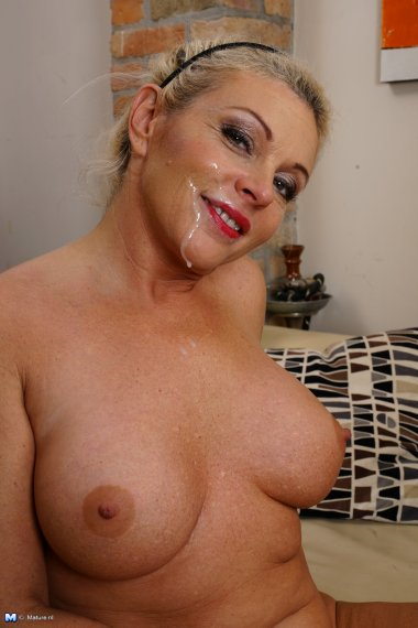 Naughty blonde housewife having a blast of a time