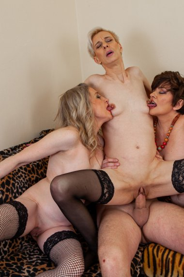 Three cougars fucking and sucking a young man