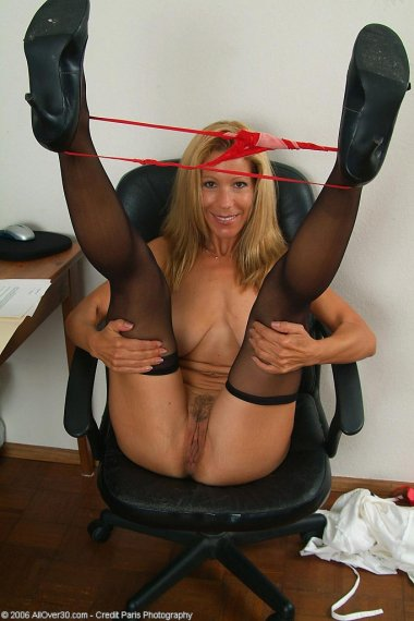 After work Rachel likes to unwind and touch her mature pussy