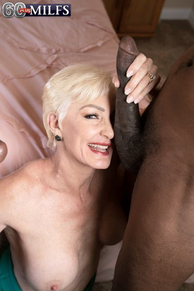 Blonde granny fucking with two black guy