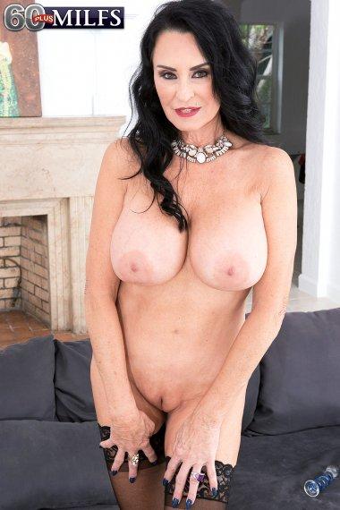 Big boobed mature masturbating with a big dildo