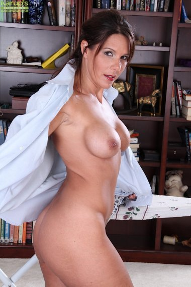 Gorgeous wife Dylan Dole ironing clothes while naked