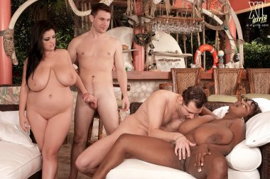 Two big boobs MILF fucking with a two guys