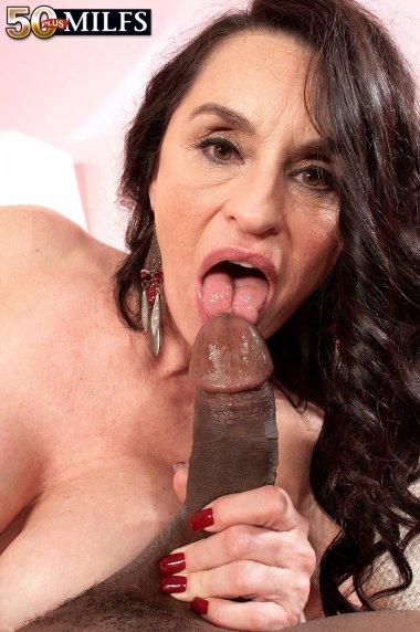 Steamy brunette MILF Rita Daniels sucking a big black cock