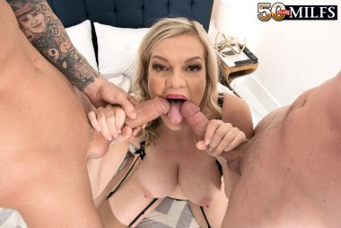 Blonde granny Lena Lewis gets DP'd from two toyboys