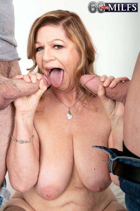 Busty mature housewife get double penetration by a toyboys