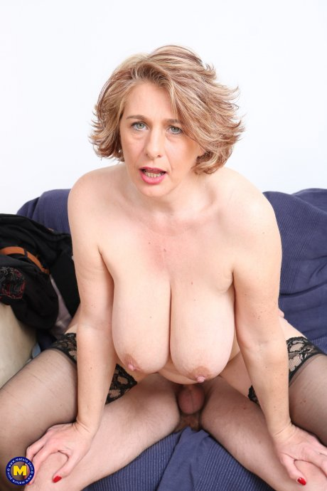 Big breasted mature Camilla fooling around with her toy boy